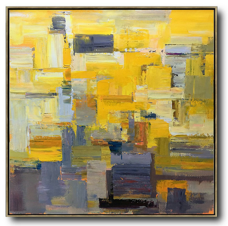 Large Abstract Painting,Oversized Palette Knife Painting Contemporary Art On Canvas,Hand Painted Acrylic Painting,Yellow,Brown,Taupe,Gray Violet.etc