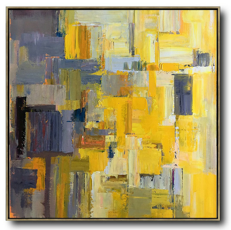 Large Abstract Art,Oversized Palette Knife Painting Contemporary Art On Canvas,Hand-Painted Contemporary Art,Yellow,Gray Violet,Brown,Taupe.etc