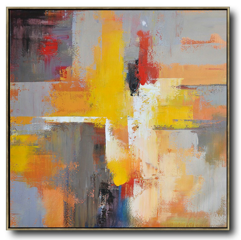Huge Abstract Painting On Canvas,Oversized Palette Knife Painting Contemporary Art On Canvas,Large Colorful Wall Art,Yellow,Grey,Red,Taupe.etc
