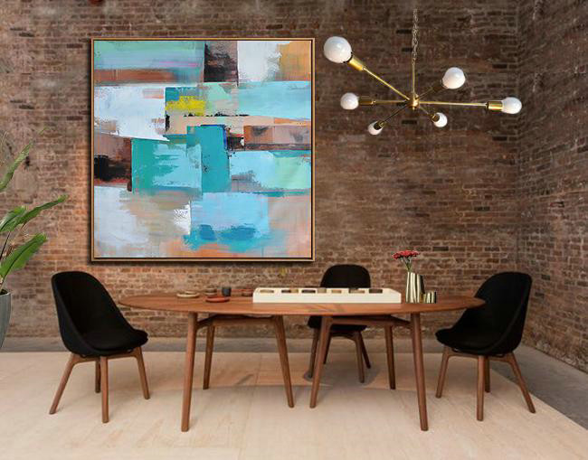 Original Painting Hand Made Large Abstract Art,Oversized Palette Knife Painting Contemporary Art On Canvas,Large Wall Art Canvas,Sky Blue,Brown,Orange,Light Green,Earthy Yellow.etc