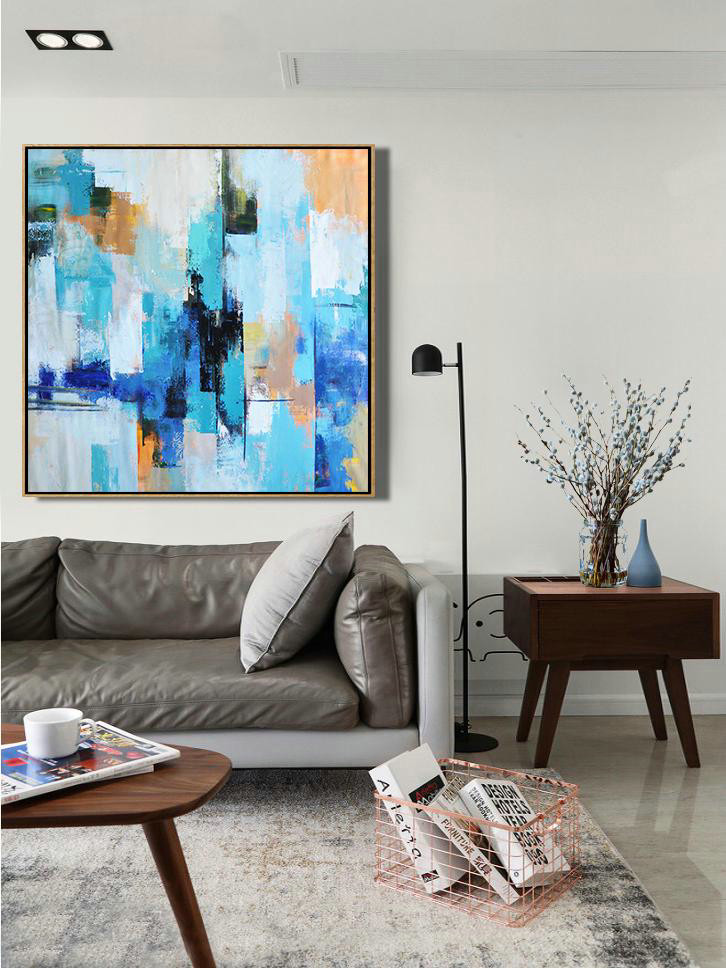 Original Abstract Painting Extra Large Canvas Art,Palette Knife Contemporary Art Canvas Painting,Canvas Painting Wall Decor,Sky Blue,Yellow,White,Blue.etc