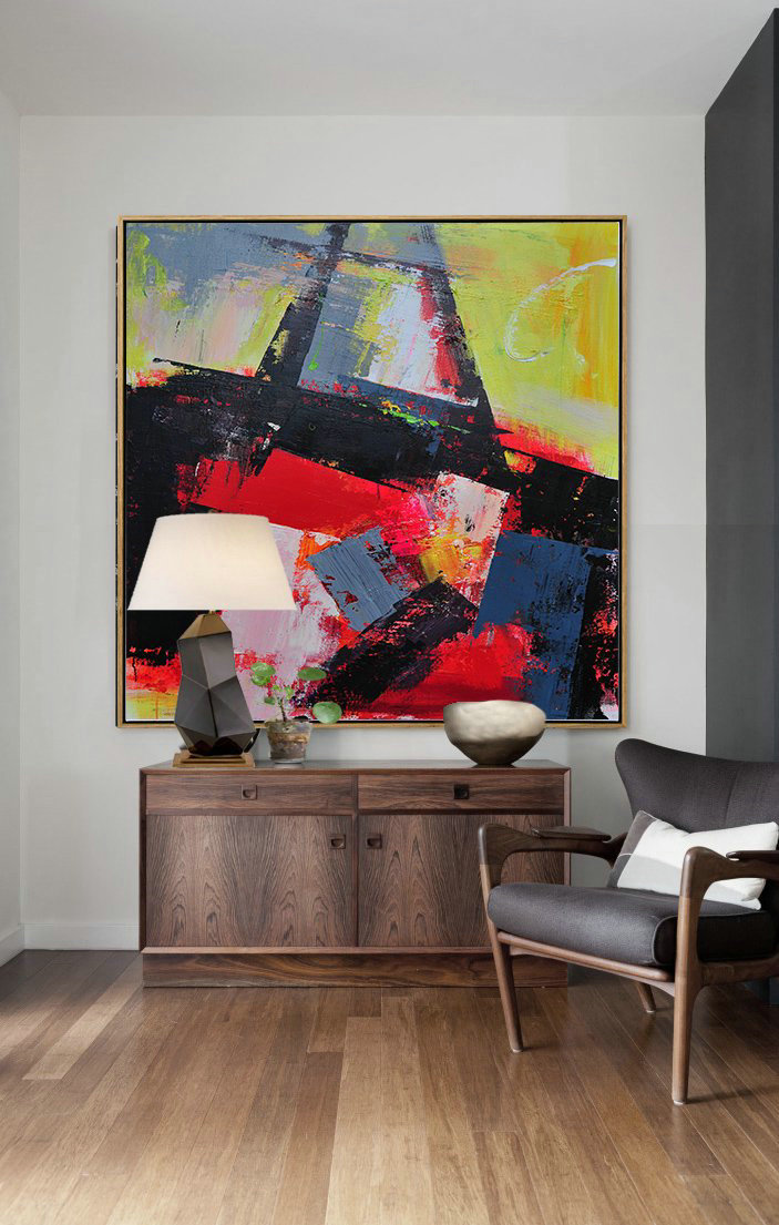 Handmade Extra Large Contemporary Painting,Palette Knife Contemporary Art Canvas Painting,Home Canvas Wall Art,Black,Red,Yellow,Pink.etc