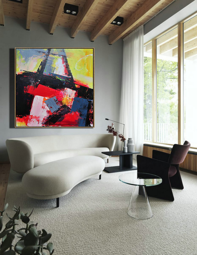 Handmade Extra Large Contemporary Painting,Palette Knife Contemporary Art Canvas Painting,Home Canvas Wall Art,Black,Red,Yellow,Pink.etc - Click Image to Close