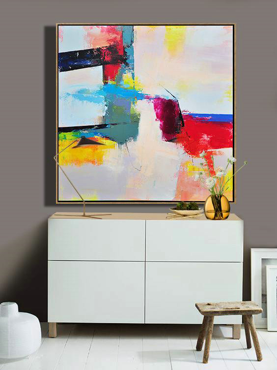 Extra Large Textured Painting On Canvas,Palette Knife Contemporary Art Canvas Painting,Home Decor Canvas,Pink,Red,Blue,Yellow.etc