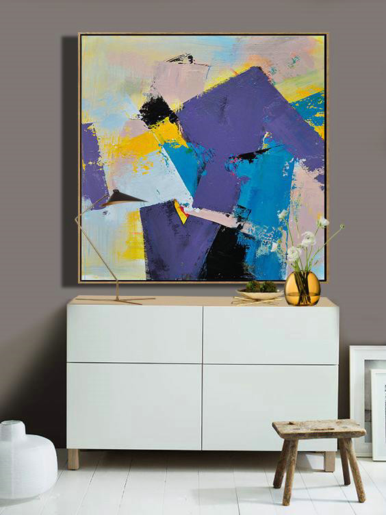 Oversized Canvas Art On Canvas,Palette Knife Contemporary Art Canvas Painting,Large Wall Canvas Paintings,Light Purple,Yellow,Nude,Sky Blue.etc