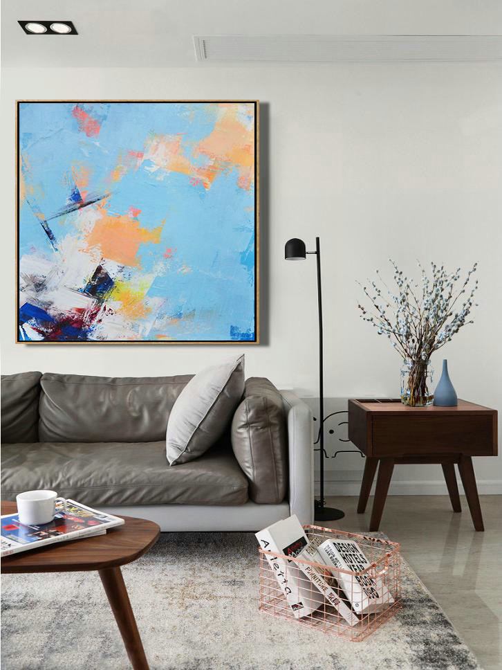 Large Abstract Painting,Palette Knife Contemporary Art Canvas Painting,Big Living Room Decor,Sky Blue,Yellow,White,Dark Blue.etc