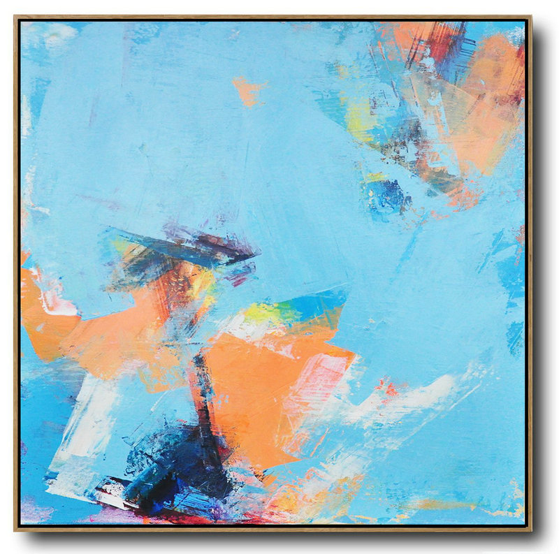 Large Abstract Art,Palette Knife Contemporary Art Canvas Painting,Oversized Wall Decor,Sky Blue,Orange,Yellow,White.etc