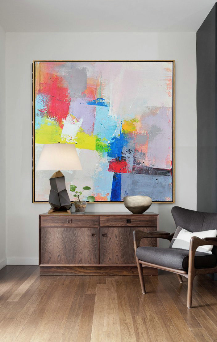 Original Extra Large Wall Art,Palette Knife Contemporary Art Canvas Painting,Decorating A Big Living Room,Pink,Red,Blue,Yellow,Violet Ash.etc