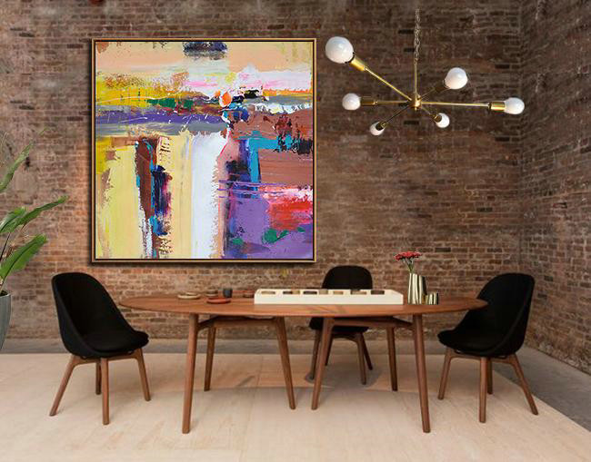 Handmade Large Contemporary Art,Oversized Palette Knife Painting Contemporary Art On Canvas,Modern Canvas Art,Yellow,Purple,Brown,Taupe.etc