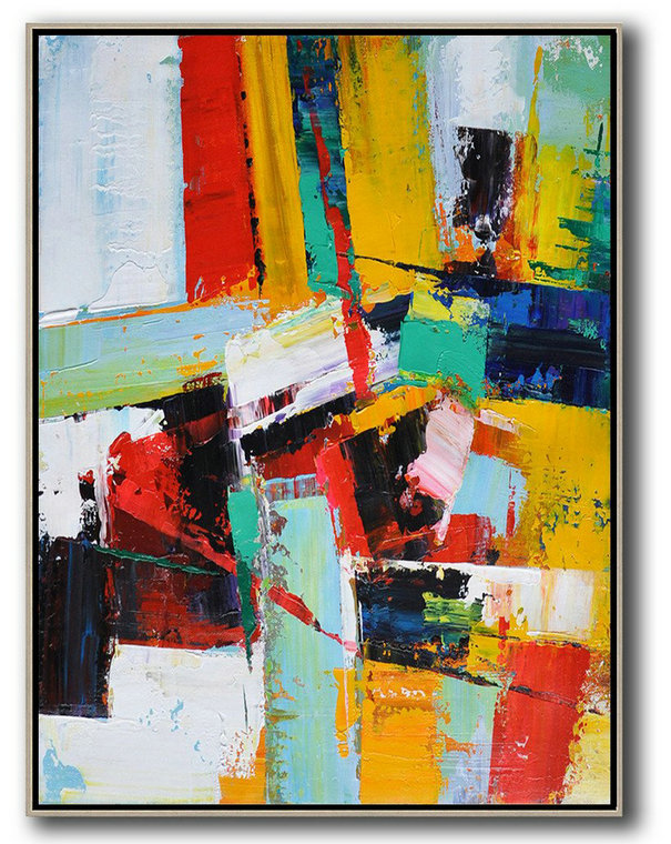 Xl Large Canvas Art,Vertical Palette Knife Contemporary Art,Large Oil Canvas Art,Red,Yellow,Dark Blue,White.etc