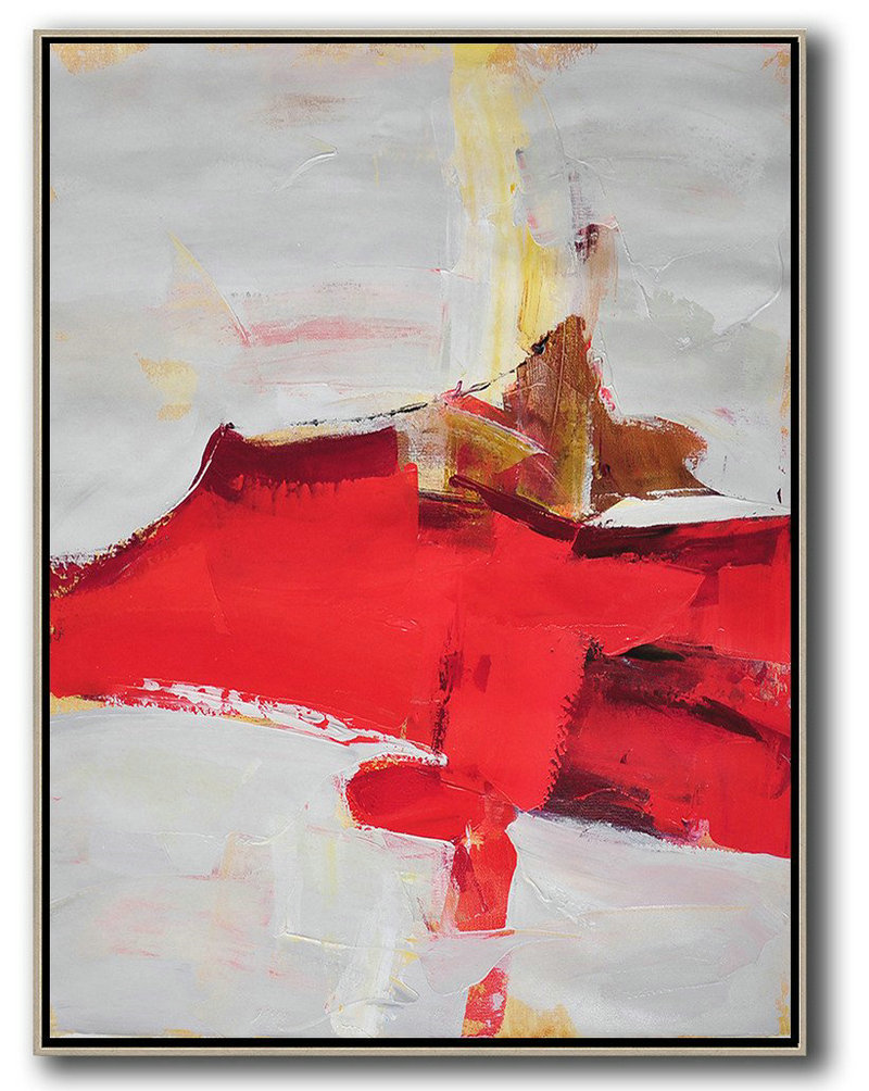Hand-Painted Contemporary Art,Vertical Palette Knife Contemporary Art,Large Wall Canvas,Grey,Red,Brown.etc