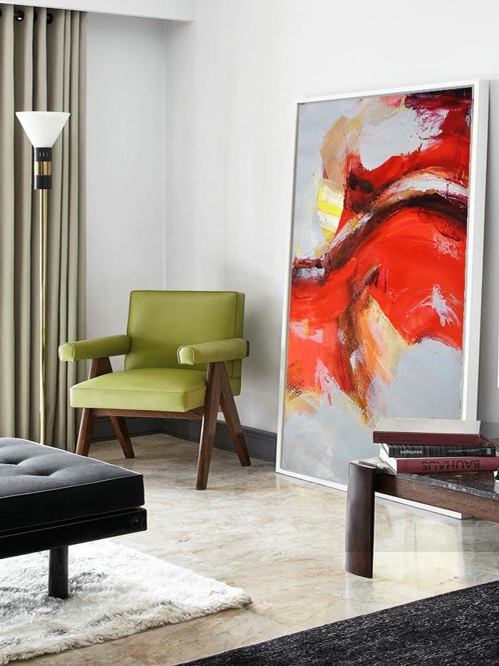 Big Painting,Vertical Palette Knife Contemporary Art,Big Canvas Painting,Grey,Red,Yellow.etc