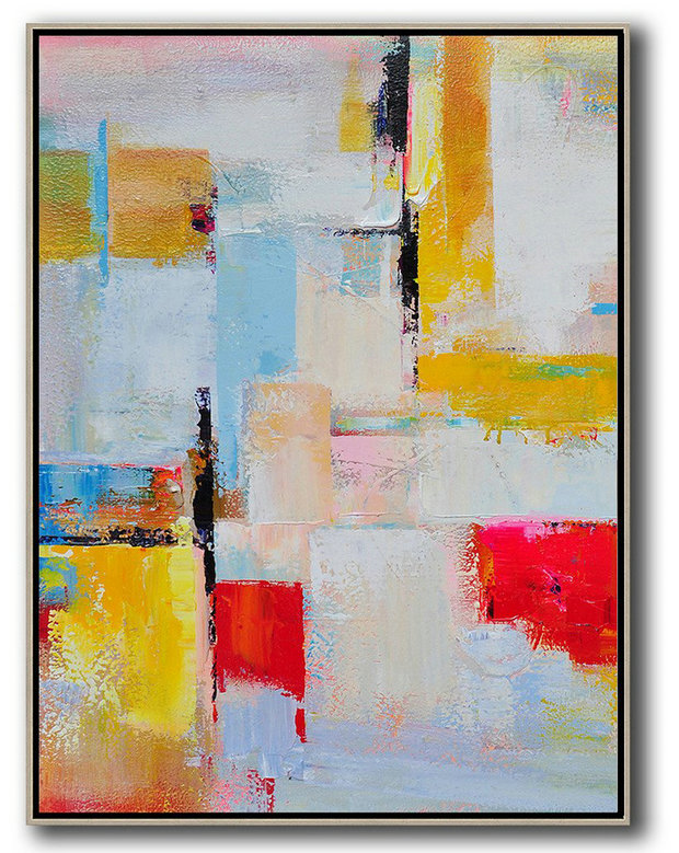 Extra Large Abstract Painting On Canvas,Vertical Palette Knife Contemporary Art,Big Canvas Painting,Pink,Red,Yellow,Grey,Sky Blue.etc