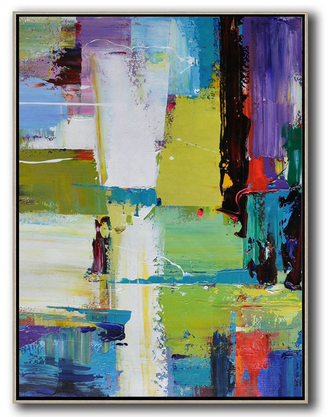 Extra Large Acrylic Painting On Canvas,Vertical Palette Knife Contemporary Art,Extra Large Artwork,Purple,Yellow,Grass Green,Black,Red.etc
