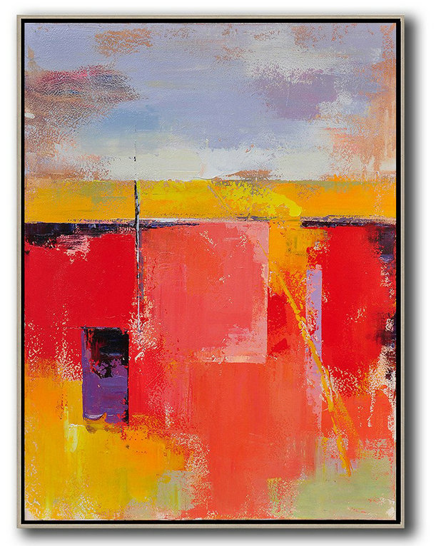 Abstract Art Decor,Contemporary Painting,Vertical Palette Knife Contemporary Art,Huge Canvas Art On Canvas,Purple,Grey,Yellow,Red.etc