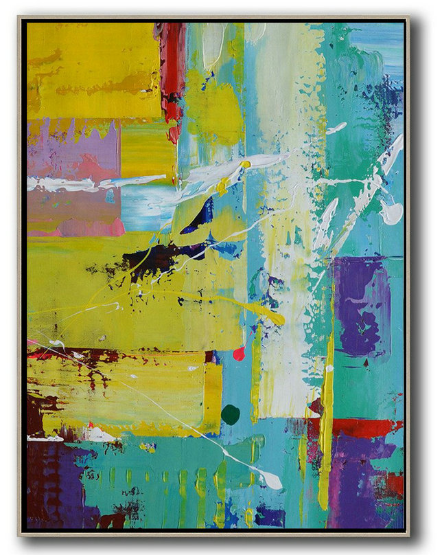 Hand Painted Extra Large Abstract Painting,Vertical Palette Knife Contemporary Art,Original Art Acrylic Painting,Sky Blue,Yellow,Purple,Red.etc