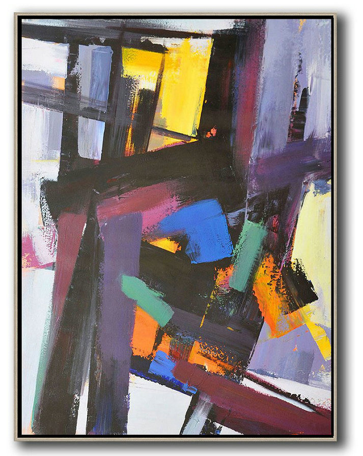 "Extra Large 72"" Acrylic Painting,Vertical Palette Knife Contemporary Art,Oversized Custom Canvas Art,Black,Purple,Pink,Blue,Yellow,Brown.etc"