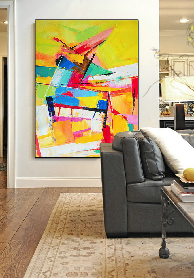 Abstract Art Decor Large Canvas Painting,Vertical Palette Knife Contemporary Art,Acrylic Painting On Canvas,Yellow,Red,Blue,White.etc
