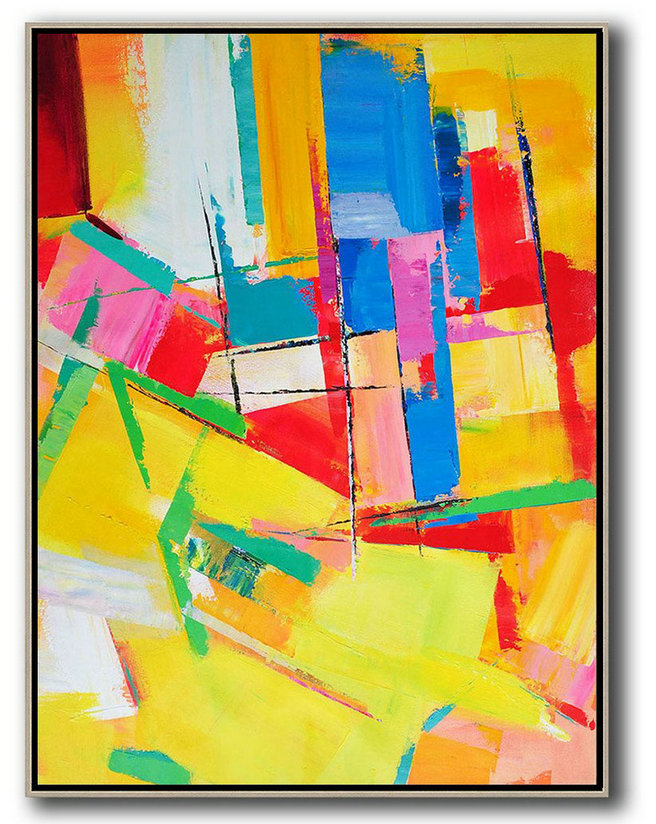 Vertical Palette Knife Contemporary Art,Large Wall Art Home Decor,Yellow,Red,Blue,Purple.etc