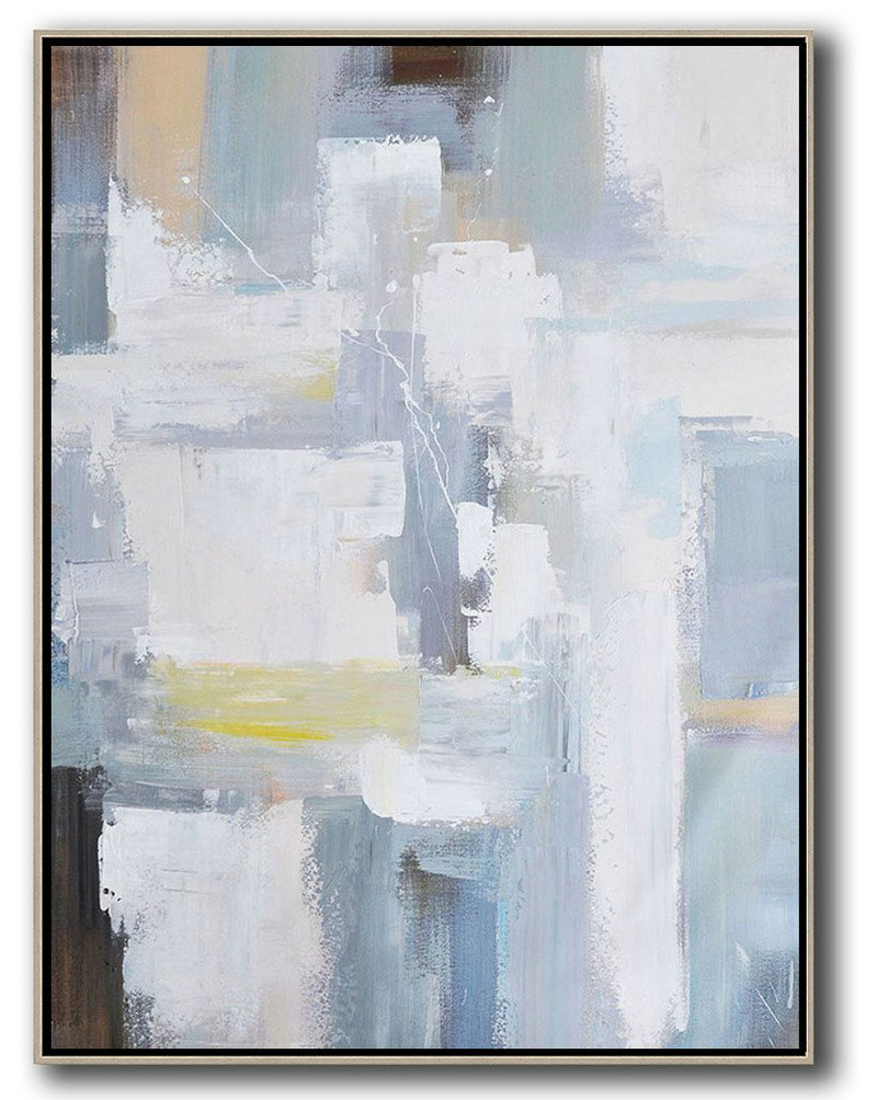 Handmade Large Painting,Vertical Palette Knife Contemporary Art,Large Canvas Wall Art For Sale,White,Grey,Brown,Yellow.etc