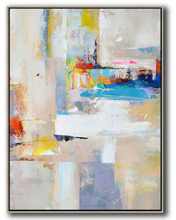 Large Abstract Art,Vertical Palette Knife Contemporary Art,Acrylic Painting On Canvas,Beige,White,Blue,Red,Yellow,Pink.etc