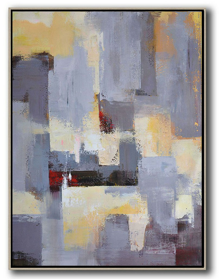 Acrylic Painting Wall Art,Vertical Palette Knife Contemporary Art,Living Room Wall Art,Grey,Yellow,Red.etc