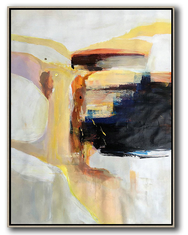 Hand Made Original Art,Vertical Palette Knife Contemporary Art,Huge Abstract Canvas Art,Grey,White,Yellow,Black.etc