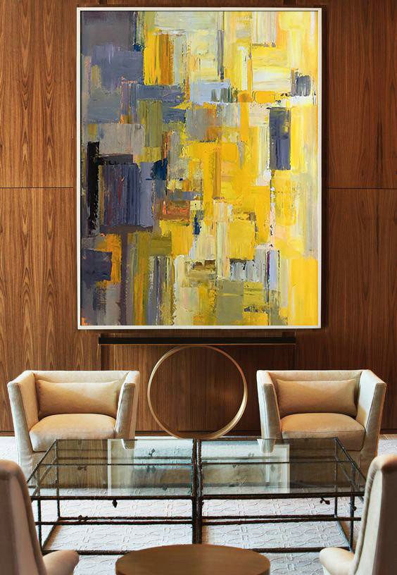 Handmade Extra Large Contemporary Painting,Vertical Palette Knife Contemporary Art,Huge Canvas Art On Canvas,Yellow,Purple,Beige,Brown,Taupe.etc