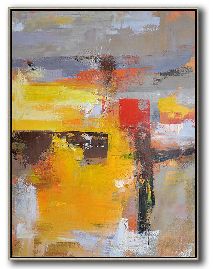 Hand Painted Acrylic Painting,Vertical Palette Knife Contemporary Art,Big Painting,Yellow,Red,Purple,Grey.etc