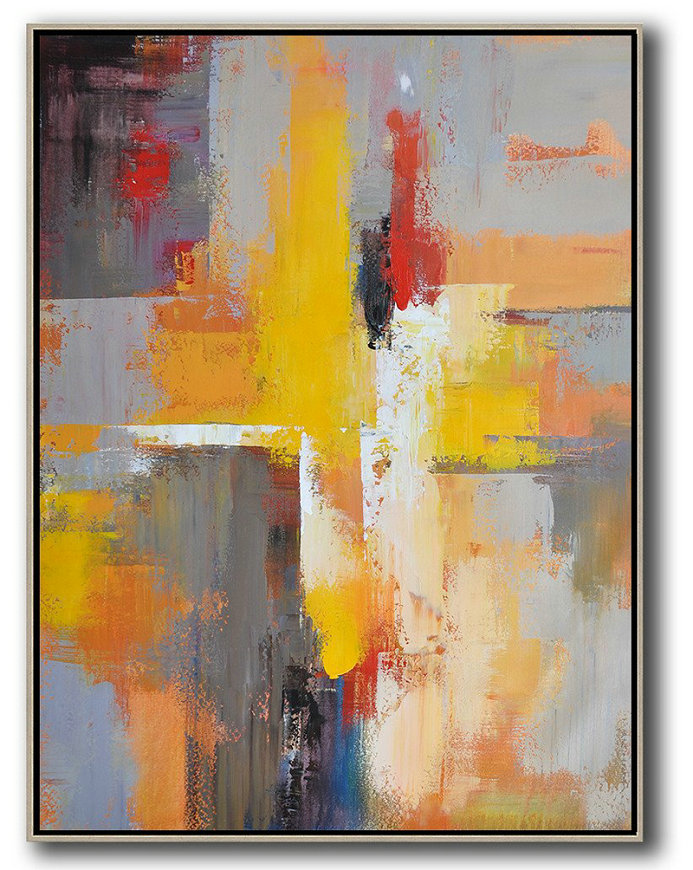 Handmade Acrylic Painting,Vertical Palette Knife Contemporary Art,Hand Paint Large Clean Modern Art,Yellow,Red,White,Violet Ash.etc