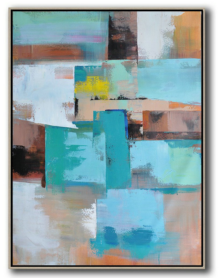 Acrylic Minimailist Painting,Vertical Palette Knife Contemporary Art,Xl Large Canvas Art,Green,Blue,Brown,Beige,Yellow.etc