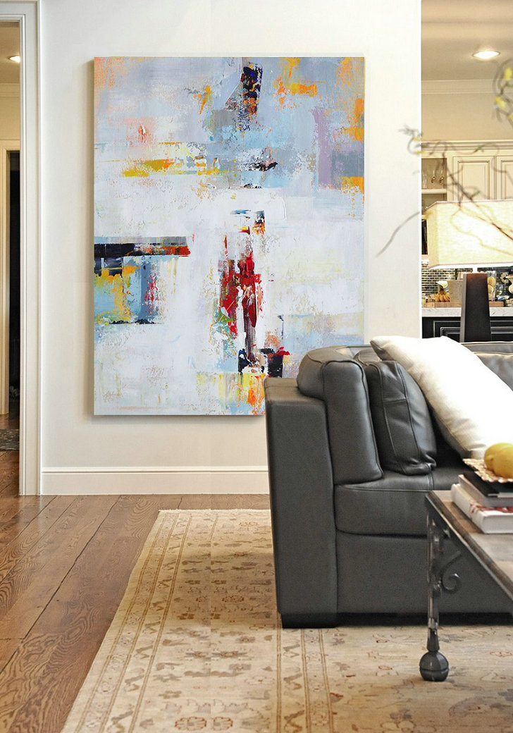 Hand Paint Large Clean Modern Art,Vertical Palette Knife Contemporary Art,Oversized Custom Canvas Art,White,Grey,Red,Yellow.etc