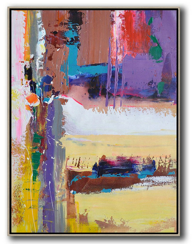 Abstract Painting Extra Large Canvas Art,Vertical Palette Knife Contemporary Art,Huge Abstract Canvas Art,Purle,Yellow,White,Brown,Red,Blue.etc