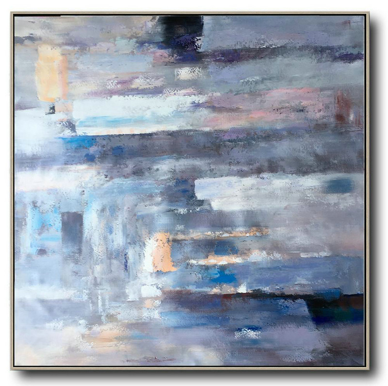 Large Abstract Art Handmade Oil Painting,Oversized Contemporary Art,Large Wall Canvas,Purple,Blue,Yellow,Pink.etc