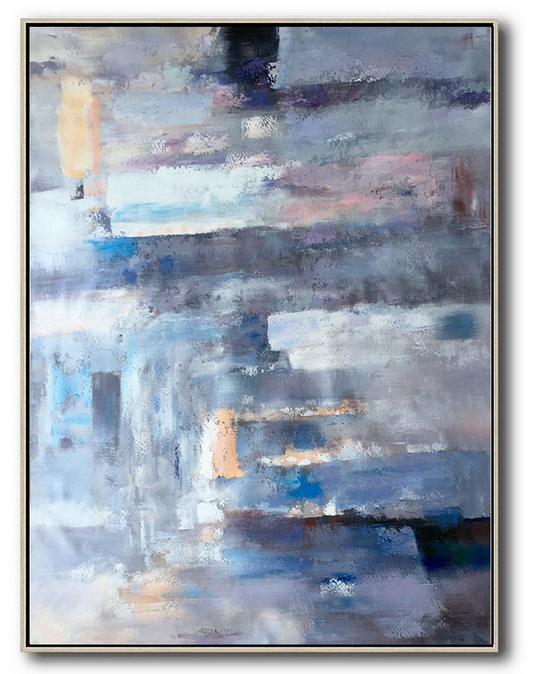Abstract Painting On Canvas,Vertical Palette Knife Contemporary Art,Colorful Wall Art,Violet Ash,Grey,Blue,Pink.etc