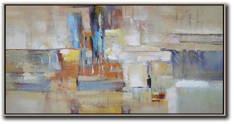 Large Modern Abstract Painting,Horizontal Palette Knife Contemporary Art,Pretty Abstract Paintings,Earthy Yellow,Blue,White,Brown.etc