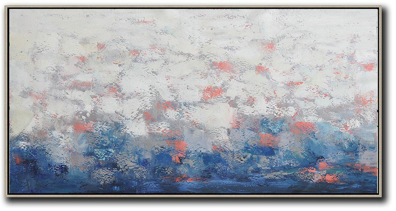 Large Contemporary Art Acrylic Painting,Horizontal Palette Knife Contemporary Art,Giant Canvas Wall Art,White,Grey,Red,Dark Blue.etc