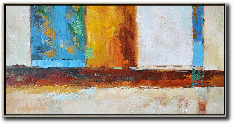 Large Abstract Painting On Canvas,Horizontal Palette Knife Contemporary Art,Hand-Painted Canvas Art,Gret,Blue,Yellow,Orange,Brown.etc