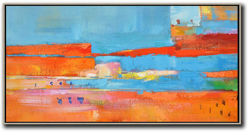 Extra Large Painting,Horizontal Palette Knife Contemporary Art,Original Abstract Painting Canvas Art,Orange,Sky Blue,,Red,Yellow.etc