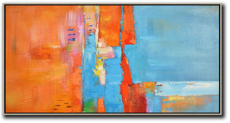 Abstract Painting Extra Large Canvas Art,Horizontal Palette Knife Contemporary Art,Large Abstract Art Handmade Acrylic Painting,Orange,Sky Blue,White,Red.etc