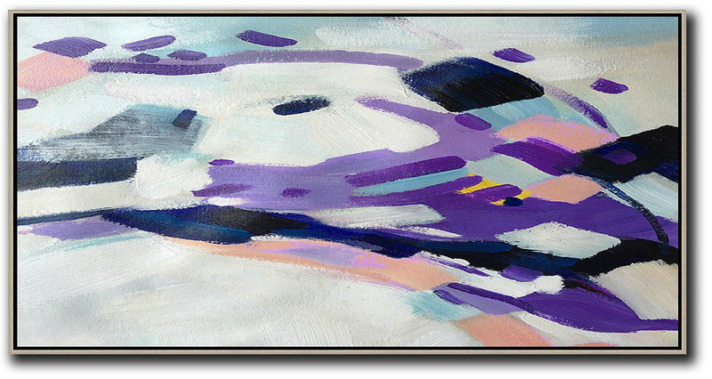 Large Abstract Art,Horizontal Palette Knife Contemporary Art,Pop Art Canvas,White,Purple,Dark Blue,Pink.etc