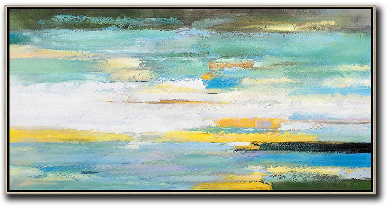 Original Artwork Extra Large Abstract Painting,Horizontal Palette Knife Contemporary Art,Large Oil Canvas Art,White,Yellow,Blue,Light Green,Black.etc