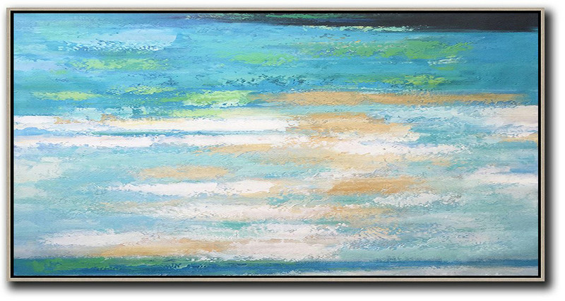 Extra Large Acrylic Painting On Canvas,Horizontal Palette Knife Contemporary Art,Large Canvas Wall Art For Sale,Lake Blue,White,Yellow.etc