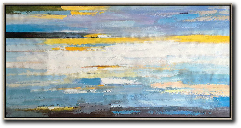 Original Abstract Painting Extra Large Canvas Art,Horizontal Palette Knife Contemporary Art,Modern Paintings On Canvas,White,Yellow,Blue,Black.etc