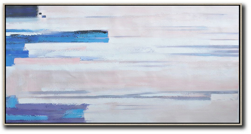 Large Abstract Art Handmade Painting,Horizontal Palette Knife Contemporary Art,Large Wall Art Canvas,Pink,White,Blue, Purple.etc