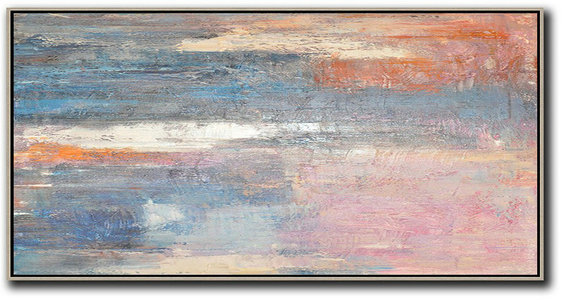 Extra Large Textured Painting On Canvas,Horizontal Palette Knife Contemporary Art,Large Wall Canvas,Pink,Blue,Grey,Earthy Yellow.etc
