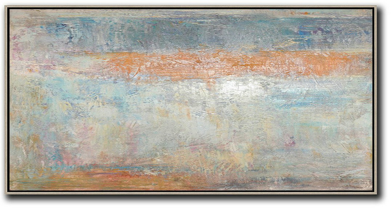 Oversized Canvas Art On Canvas,Horizontal Palette Knife Contemporary Art,Huge Canvas Art On Canvas,Orange,Blue,Grey,White.etc