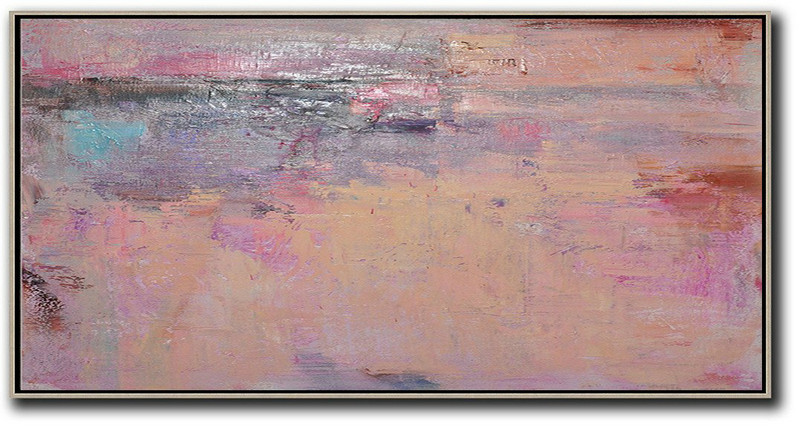 Large Abstract Painting,Horizontal Palette Knife Contemporary Art,Large Paintings For Living Room,Light Yellow,Purple,Pink,Brown.etc