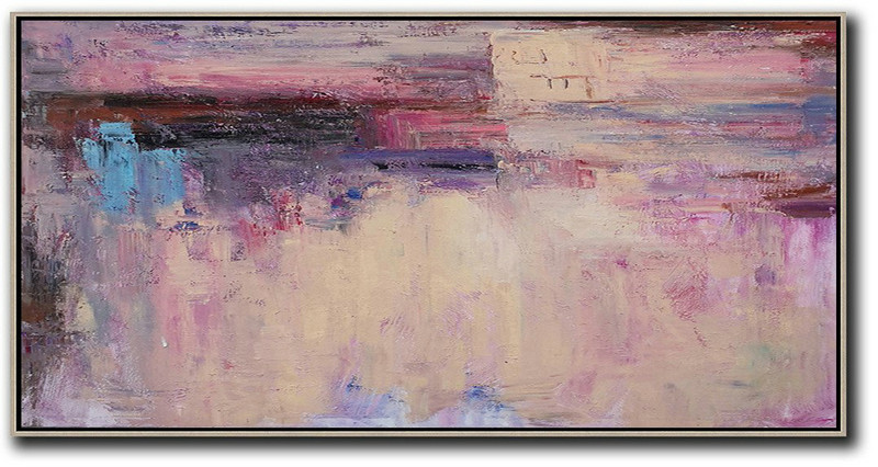 Large Abstract Art,Horizontal Palette Knife Contemporary Art,Extra Large Paintings,Light Yellow,Purple,Pink,Brown.etc