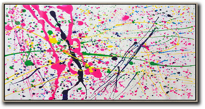 Extra Large Acrylic Painting On Canvas,Horizontal Palette Knife Contemporary Art,Huge Abstract Canvas Art,White,Red,Yellow,Green.etc